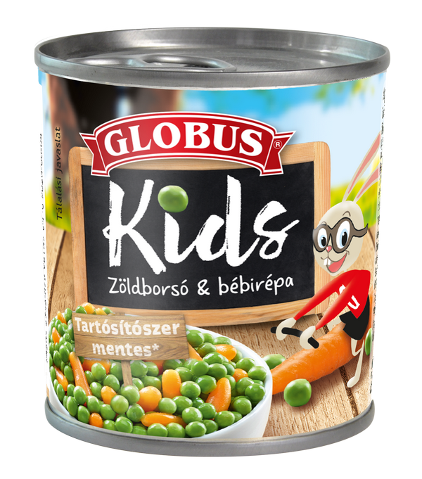 GLOBUS KIDS Zöldborsó bébirépával konzerv